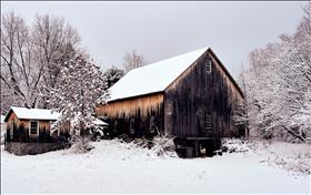 Snowy Winter Scene of Barn